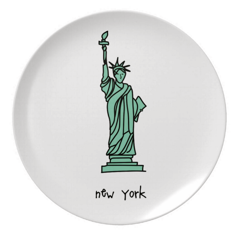 "new york. 8"" melamine plate."