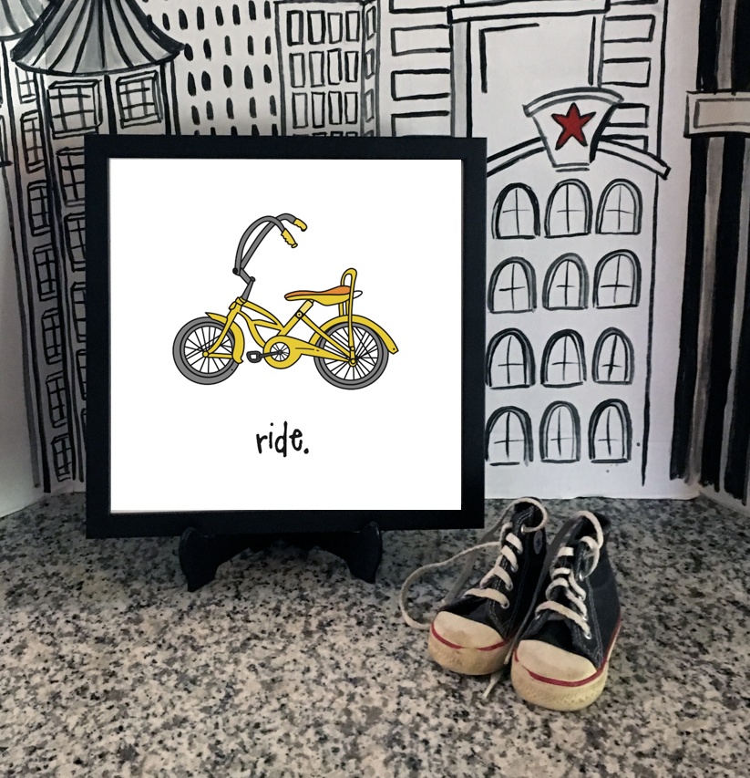ride. 12x12 framed poster.