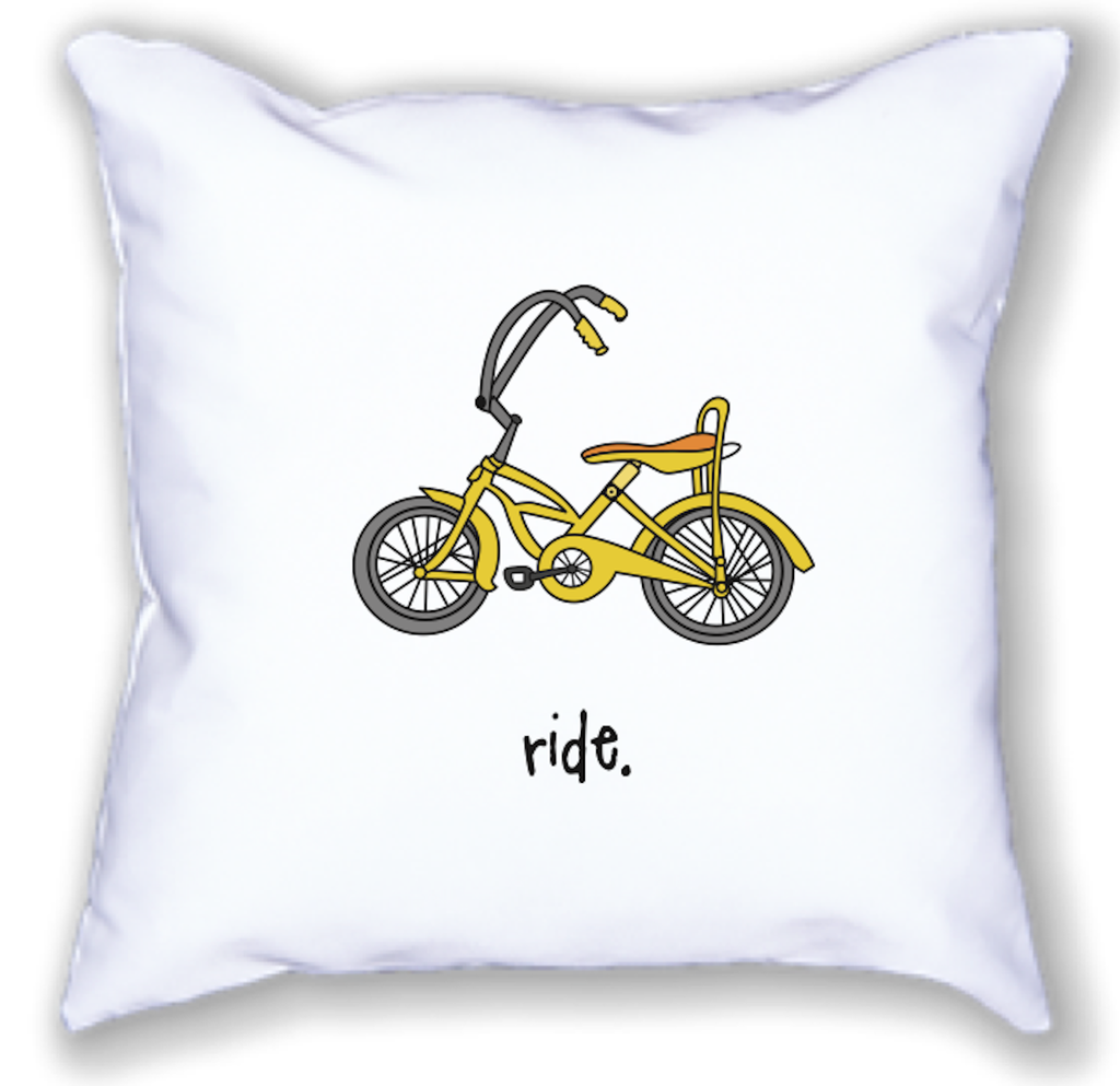 ride. 18x18 pillow.