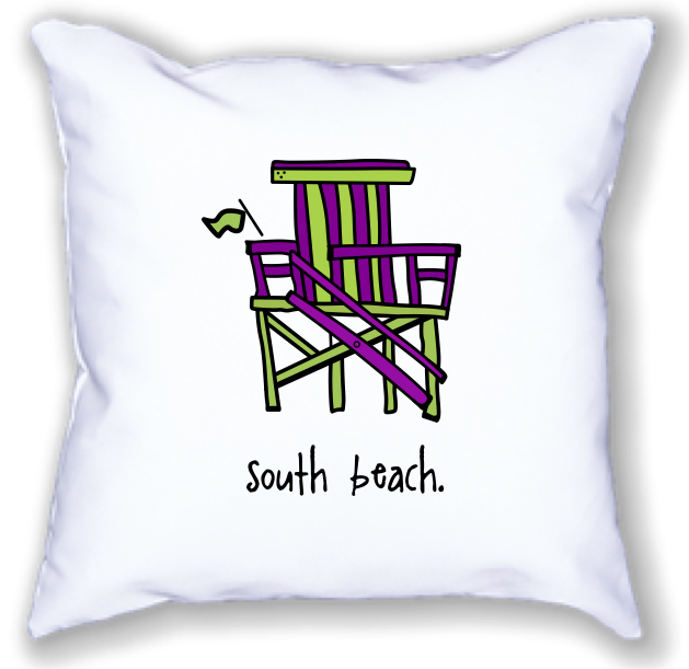 south beach. 18x18 pillow.
