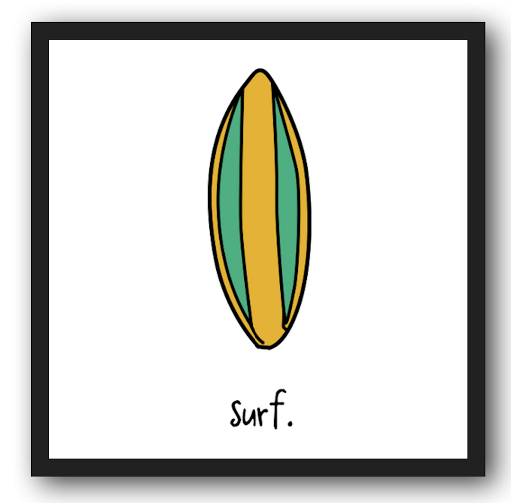 surf. 12x12 framed poster.