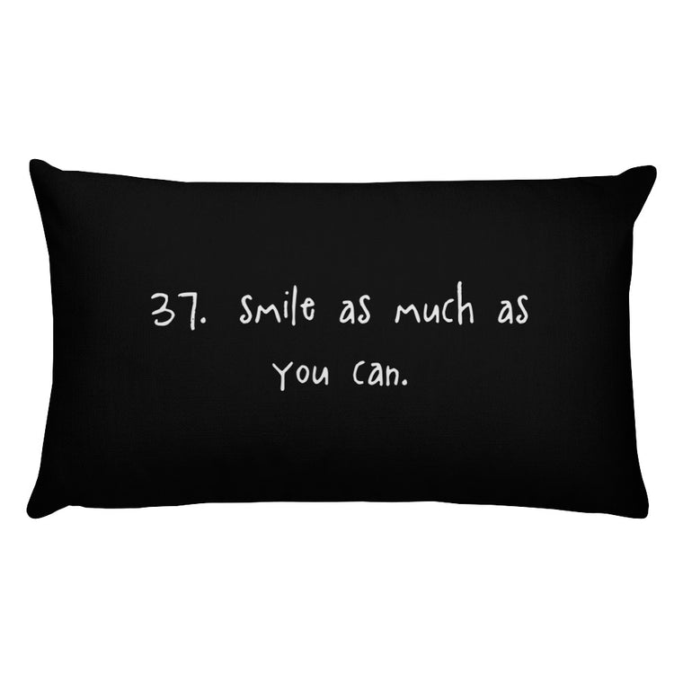 tip 37. black throw pillow. 2 sizes.