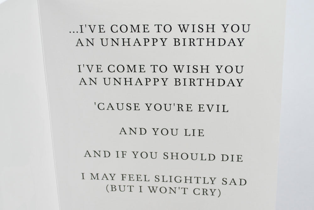 "morrissey ""unhappy birthday"" card  bestplayever, Birthday card"