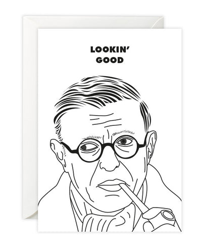 "Jean-Paul Sartre ""Looking Good"" Card - bestplayever"