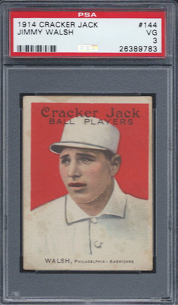 1914 Cracker Jack #144 Jimmy Walsh PSA 3 VG Philadelphia Athletics E145-1