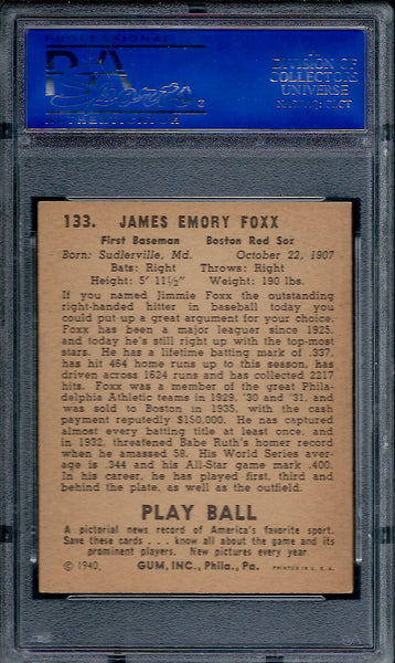 1940 Play Ball #133 Jimmie Foxx PSA 6 EX-MT Boston Red Sox HOF