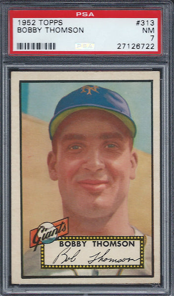1952 Topps #313 Bobby Thomson PSA 7 NM New York Giants