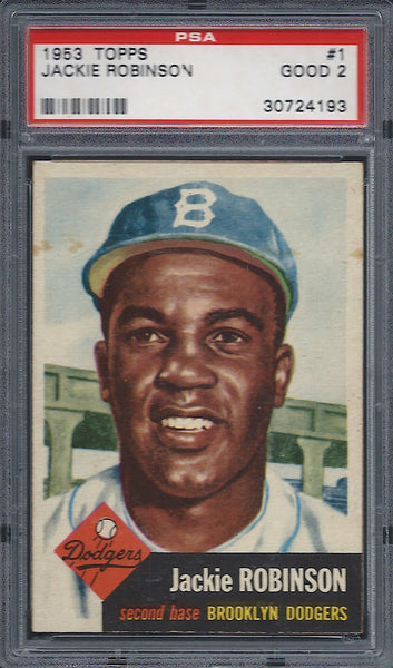 1953 Topps #1 Jackie Robinson PSA 2 GOOD Brooklyn Dodgers