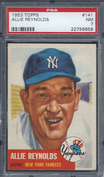 1953 Topps #141 Allie Reynolds PSA 7 NM New York Yankees