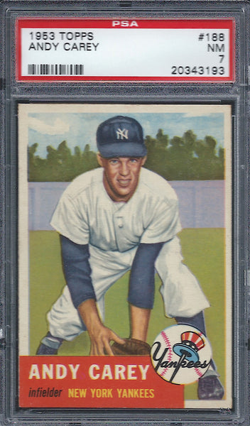 1953 Topps #188 Andy Carey PSA 7 NM New York Yankees