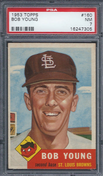 1953 Topps #160 Bob Young PSA 7 NM St Louis Browns