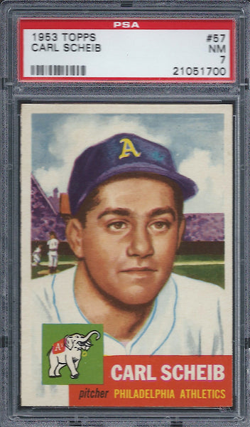 1953 Topps #57 Carl Scheib PSA 7 NM Philadelphia Athletics