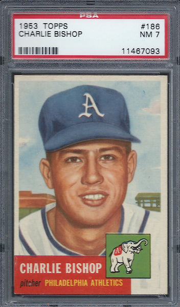 1953 Topps #186 Charlie Bishop PSA 7 NM Philadelphia Athletics
