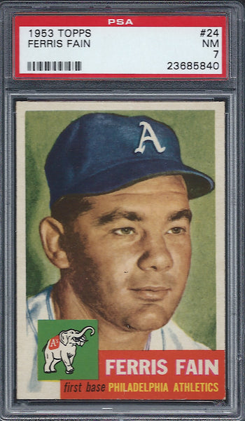 1953 Topps #24 Ferris Fain PSA 7 NM Philadelphia Athletics