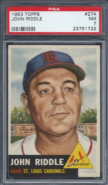 1953 Topps #274 John Riddle PSA 7 NM St Louis Cardinals