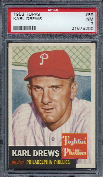 1953 Topps #59 Karl Drews PSA 7 NM Philadelphia Phillies