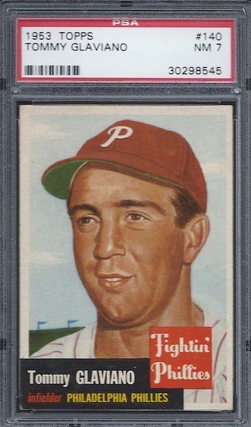 1953 Topps #140 Tommy Glaviano PSA 7 NM Philadelphia Phillies