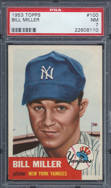 1953 Topps #100 Bill Miller PSA 7 NM New York Yankees