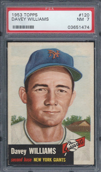 1953 Topps #120 Davey Williams PSA 7 NM New York Giants