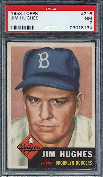 1953 Topps #216 Jim Hughes PSA 7 NM Brooklyn Dodgers