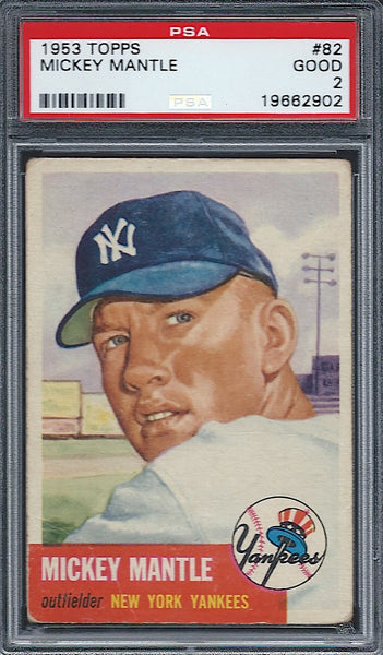 1953 Topps #82 Mickey Mantle PSA 2 Good New York Yankees HOF