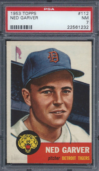 1953 Topps #112 Ned Garver PSA 7 NM Detroit Tigers