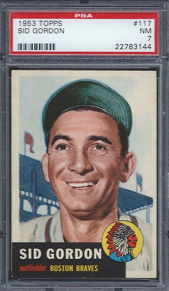 1953 Topps #117 Sid Gordon PSA 7 NM Boston Braves