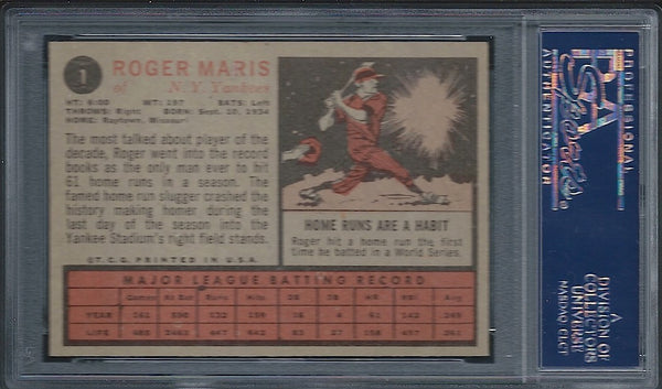 1962 Topps #1 Roger Maris PSA 6 New York Yankees back