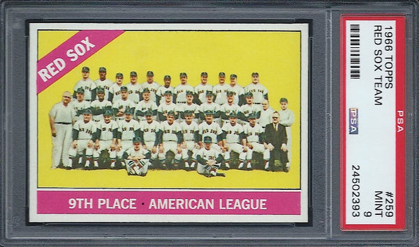 1966 Topps #259 Boston Red Sox Team PSA 9 Mint