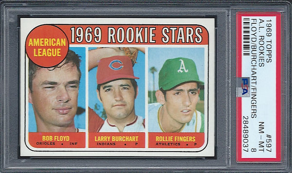 1969 Topps #597 Rollie Fingers RC Rookie PSA 8 Oakland Athletics HOF