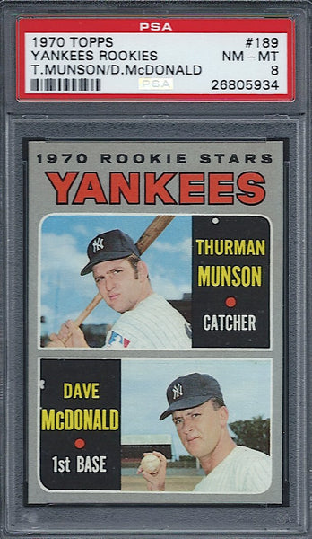1970 Topps #189 Thurman Munson Rookie RC PSA 8 NM-MT New York Yankees