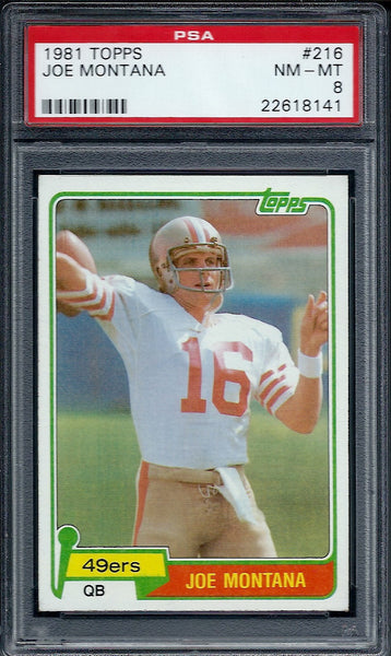 1981 Topps #216 Joe Montana Rookie RC PSA 8 NM-MT San Francisco 49ers HOF