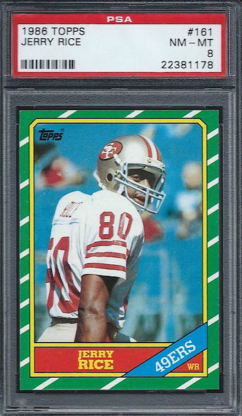 1986 Topps Jerry Rice Rookie Card PSA 8 49ers