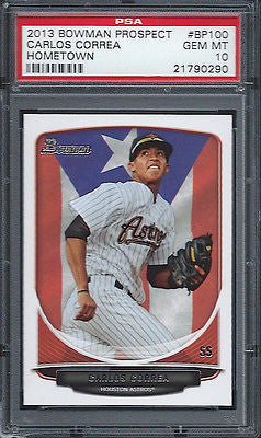 2013 Bowman Prospects Carlos Correa Rookie RC Hometown PSA 10 Houston Astros