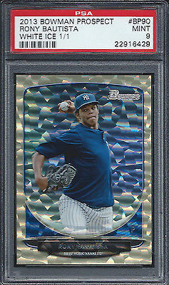 2013 Bowman Draft Rony Bautista Rookie RC WHITE ICE PSA 9 New York Yankees 1/1