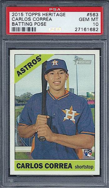 2015 Topps Heritage Number Carlos Correa RC PSA 10 Astros