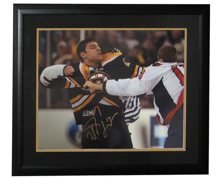 Autographed Milan Lucic Fight Framed 16x20 Boston Bruins