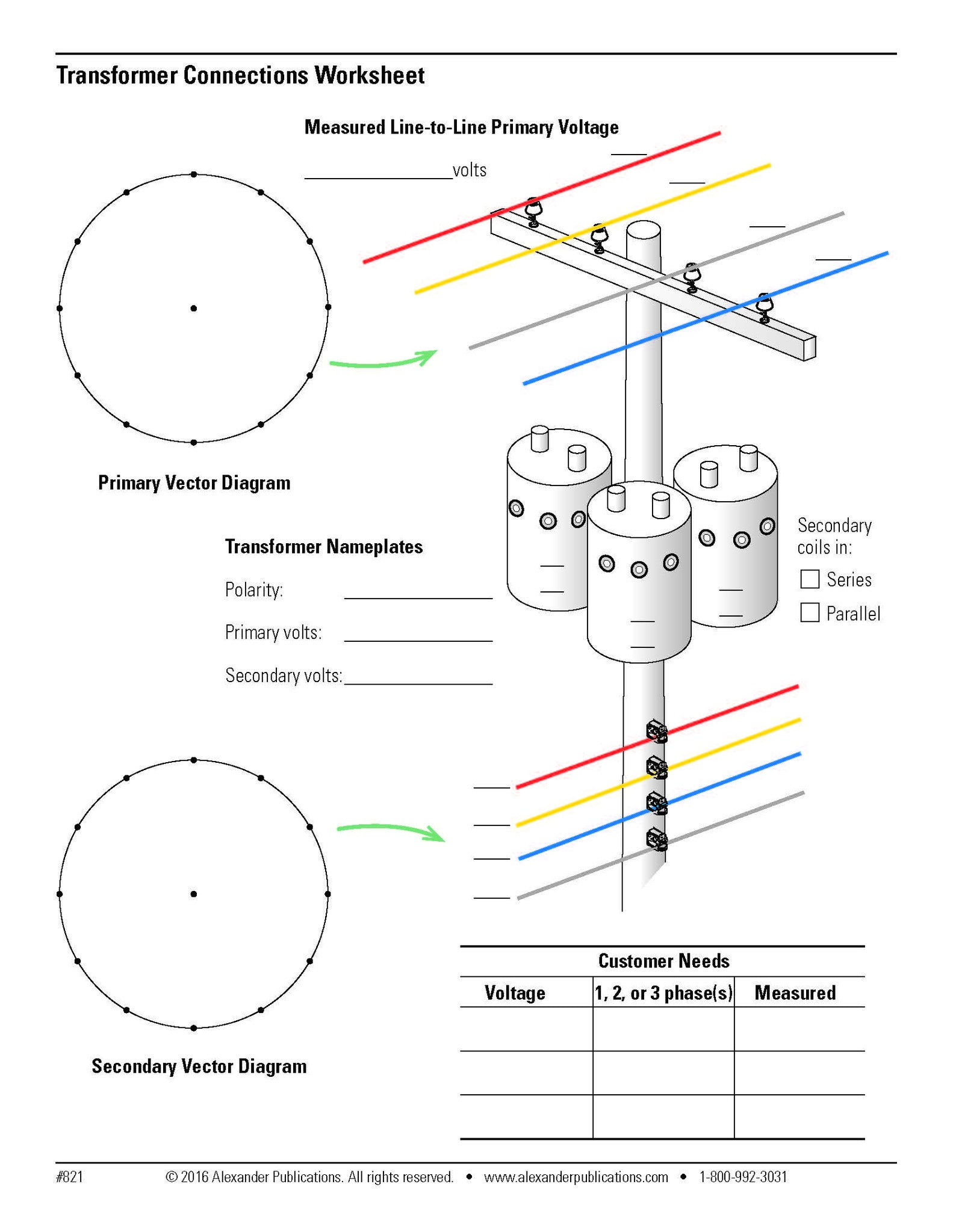 transformer connections worksheets alexander publications rh alexanderpublications com distribution transformer connection diagram auto transformer connection diagram