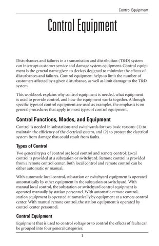 Control Equipment - Study Guide