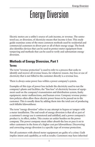 Energy Diversion - Study Guide