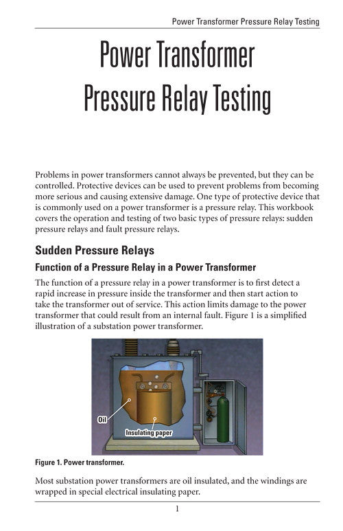 Power Transformer Pressure Relay Testing Study Guide Alexander