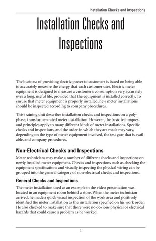 Installation Checks and Inspections - Study Guide