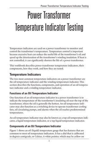 Power Transformer Temperature Indicator Testing - Study Guide