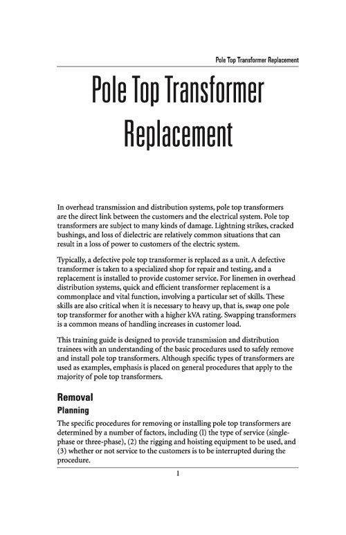 Poletop Transformer Replacement - Study Guide – Alexander Publications
