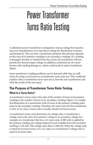 Power Transformer Turns Ratio Testing - Study Guide