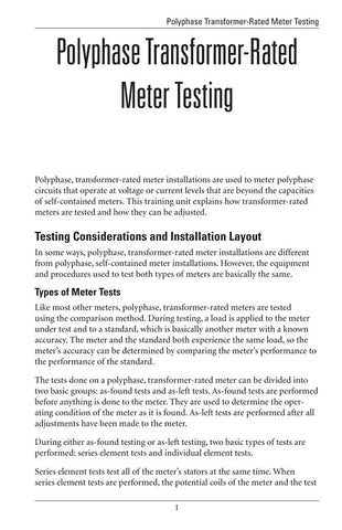 Polyphase Transformer-Rated Meter Testing - Study Guide