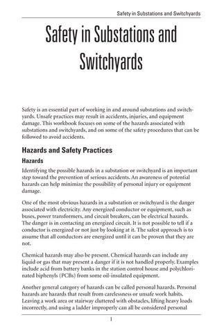 Safety in Substations and Switchyards - Study Guide