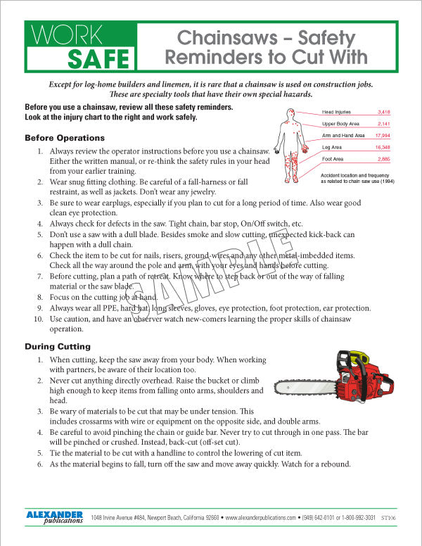 Chainsaws - Safety Reminders to Cut With - Safety Topic