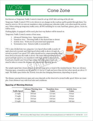 Cone Zone - Safety Topic