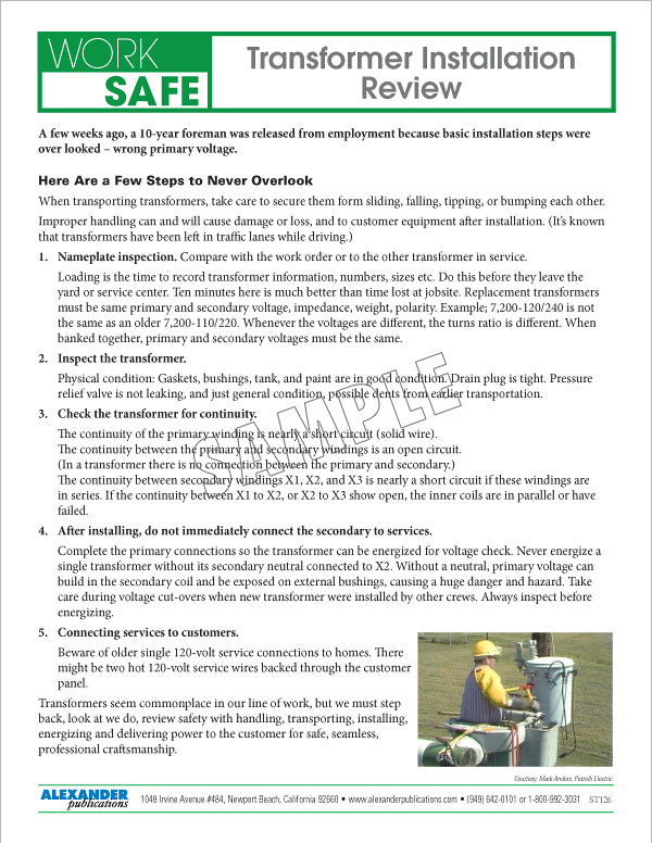 Transformer Installation Review - Safety Topic